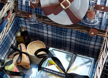 Close up of picnic basket
